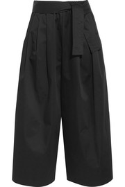 Cropped cotton-blend sateen wide-leg pants