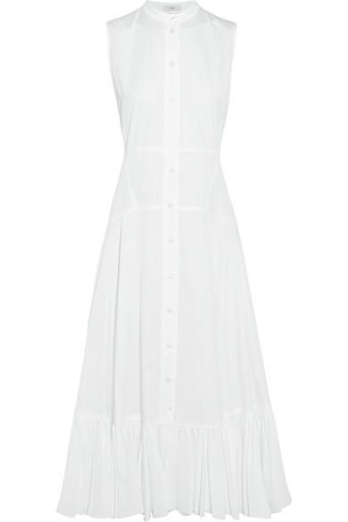TOME - Ruffle-trimmed Organic Cotton Midi Dress - White