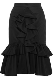 Ruffled cotton-twill skirt
