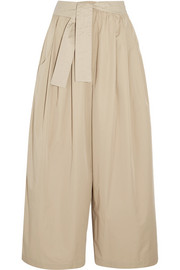 Cropped cotton-twill wide-leg pants