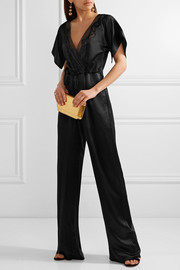 Maiyet Wrap-effect organza-trimmed silk-satin jumpsuit