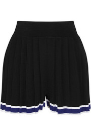 Aracari pleated striped stretch-knit shorts