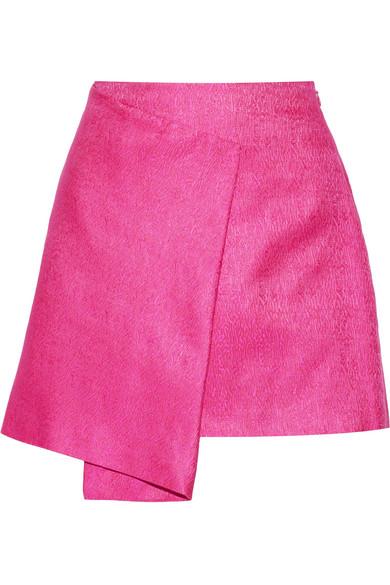 Maiyet - Wrap-effect Cotton And Silk-blend Mini Skirt - Fuchsia