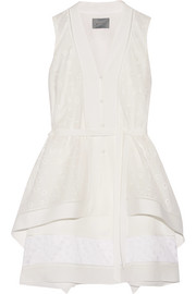 Asymmetric pointelle-trimmed cotton and silk mini dress