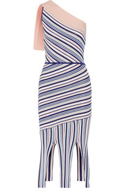 Ibis one-shoulder fringed striped stretch-knit dress