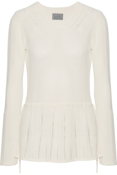 Maiyet - Pointelle-trimmed Ribbed Stretch-knit Peplum Sweater - Off-white