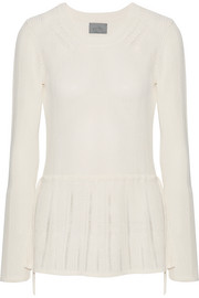 Pointelle-trimmed ribbed stretch-knit peplum sweater