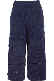 Sahara macramé silk and cotton-blend culottes