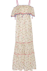 Violante off-the-shoulder printed cotton-mousseline maxi dress