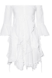 Elvira off-the-shoulder cotton-blend gauze mini dress