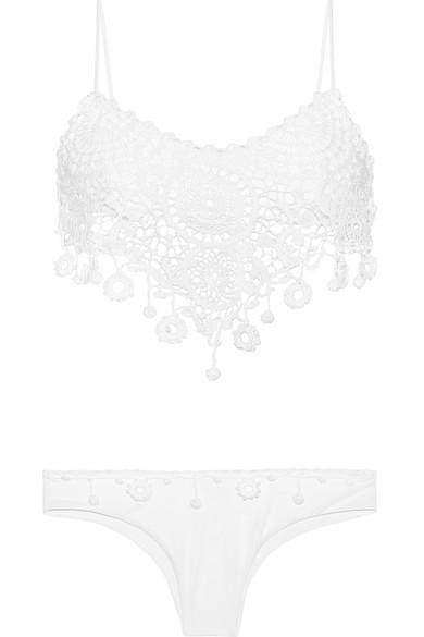 Anjuna - Tullia Crochet-paneled Bikini - White