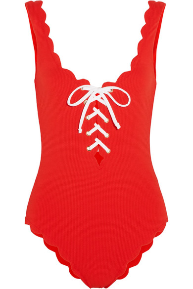 Marysia - Palm Springs Lace-up Scalloped Swimsuit - Red