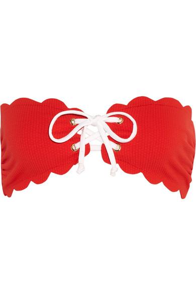 Marysia - Antibes Scalloped Bandeau Bikini Top - Red