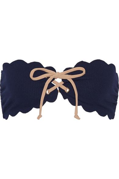 Marysia - Antibes Scalloped Bandeau Bikini Top - Navy