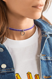 Vix velvet, silver-plated and Swarovski crystal choker