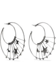 Fynn oxidized silver-plated Swarovski crystal hoop earrings