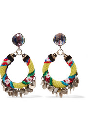 Ipyana woven, oxidized silver-plated and Swarovski crystal earrings