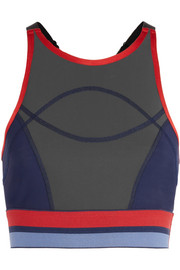 Court mesh-paneled stretch-jersey sports bra