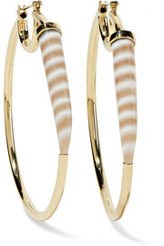 Kimberly McDonald 18-karat gold chalcedony hoop earrings