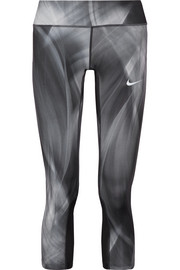 Nike Power Epic Run mesh-trimmed printed stretch leggings
