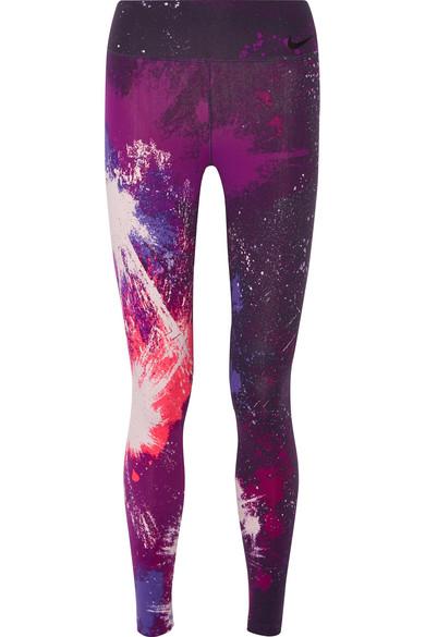 Nike - Power Legendary Printed Dri-fit Stretch Leggings - Dark purple