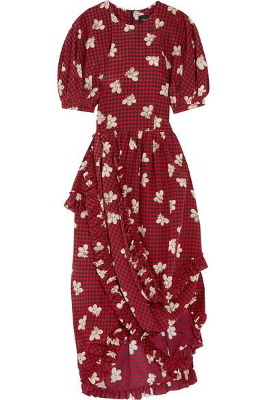 Simone Rocha - Ruffled Asymmetric Printed Silk Midi Dress - Burgundy