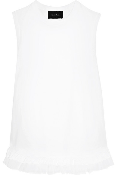 Ruffled tulle-trimmed cotton-jersey top