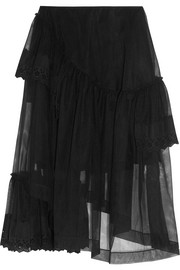 Simone Rocha Asymmetric broderie anglaise-trimmed tiered tulle skirt