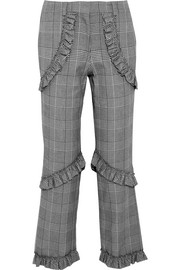 Ruffled Prince of Wales checked cotton-blend straight-leg pants