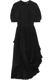 Ruffled silk crepe de chine dress