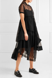 Simone Rocha Asymmetric broderie anglaise-trimmed tulle T-shirt
