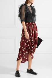 Simone Rocha Asymmetric cutout printed silk wrap skirt