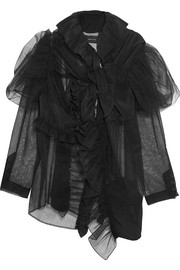 Simone Rocha Ruffled tulle and silk crepe de chine scarf