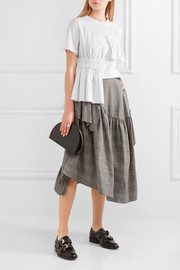 Simone Rocha Asymmetric ruffled Prince of Wales checked cotton-blend midi skirt