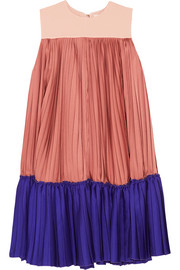 Malene color-block pleated satin-twill and crepe de chine mini dress