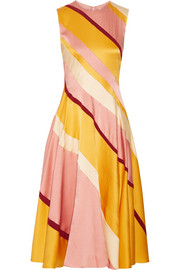 Lucine striped hammered silk-satin midi dress