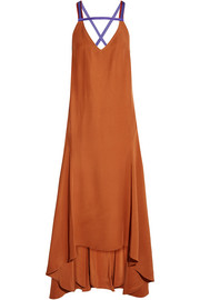 Avalon open-back asymmetric crepe dress