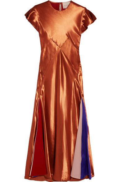 Roksanda - Theile Crepe De Chine-paneled Satin Midi Dress - Copper