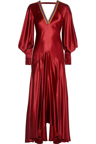 Roksanda - Zenku Open-back Hammered Silk-satin Dress - Claret