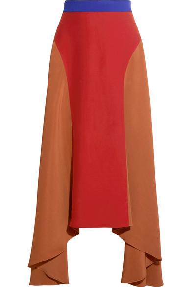 Roksanda - Askel Asymmetric Color-block Crepe Skirt - Brick