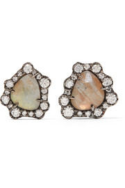 Kimberly McDonald 18-karat blackened white gold, diamond and labradorite earrings