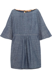 Pintucked cotton-chambray mini dress