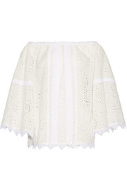 Burberry Off-the-shoulder lace-trimmed broderie anglaise cotton-blend top