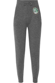 Appliquéd wool and cashmere-blend track pants