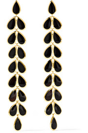 Rock Candy 18-karat gold onyx earrings