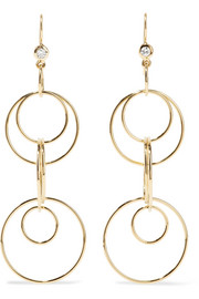 Ippolita Glamazon Jet Set 18-karat gold diamond earrings
