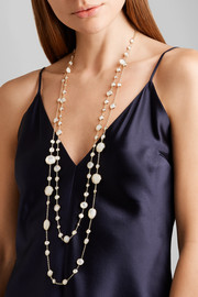 Lollipop Lollitini 18-karat gold, quartz and mother-of-pearl necklace