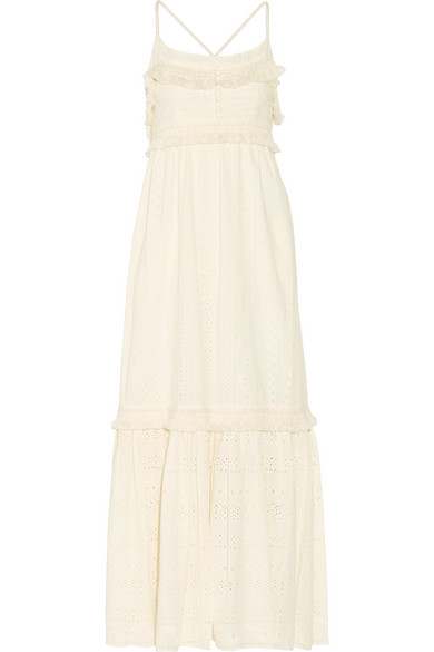 Riley fringed broderie anglaise cotton maxi dress