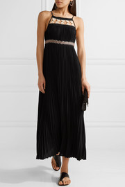 Gwynn embellished pleated voile midi dress
