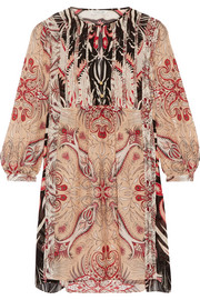 Lucia printed silk crepe de chine mini dress